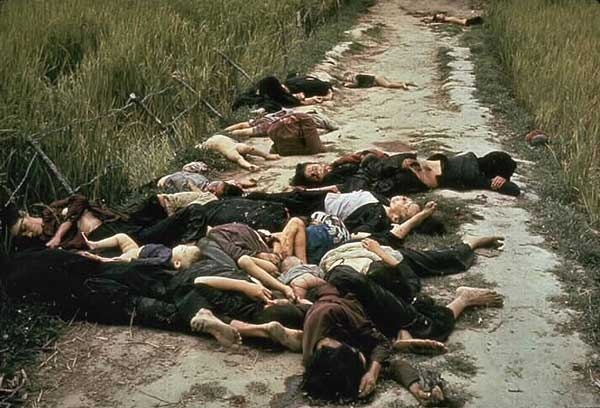 Photo taken by United States Army photographer Ronald L. Haeberle on March 16, 1968 in the aftermath of the My Lai massacre showing mostly women and children dead on a road.